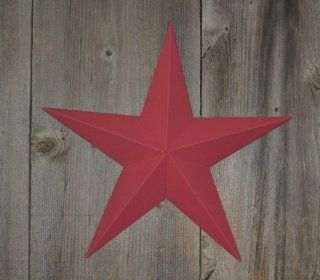 "24 Inch Heavy Duty Metal Barn Star Painted Solid Cranberry. The Solid Paint Coverage Gives the Star a Clean and Crisp Appearance. This Tin Barn Star Measures Approximately 24"" From Point to Point (Left to Right). The Barnstar Is Hand Crafted Out of 22"