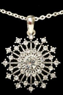 "From the Heart Beautiful Christmas Star Burst Necklace with ""Crystal"" Clear Rhinestones Sparkling on 18 inch Chain. Approximately 1.5 inches long & 1 1/4 inch wide.So Beautiful it could be worn with Formal Attire or every day wear.Mailed in a"