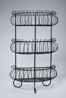 3 Tier Scrolled Wire Shelving Unit in Black Painted Finish   Bookcases