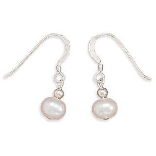 White Cultured Freshwater Pearl Earrings on Sterling Silver French Wire West Coast Jewelry Jewelry