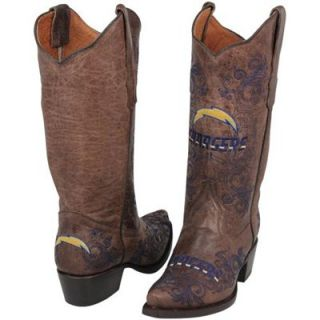 San Diego Chargers Womens Embroidered Cowboy Boots   Brown