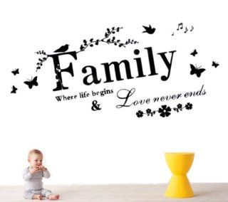 "23.6"" X 43.3"" Family Where Life Begins & Love Never Ends Vinyl Wall Stickers Quotes and Saying Flowers Birds Wall Decals"