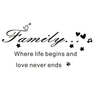 "FAMILY WHERE LIFE BEGINS AND LOVE NEVER ENDS Wall Decal Sticker Black   Size 16.3"" H x 24.5"" W   Wall Decor Stickers"
