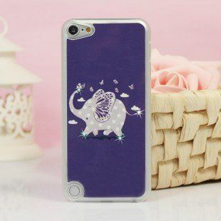 Big Mango High Quality Cute Flying Elephant Protective Shell Hard Below Cover Case for Apple Ipod Touch 5 with Bling Diamond Rhinestone and Clear Frame Eco package Purple Cell Phones & Accessories