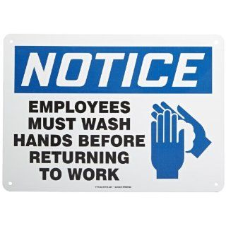 "Accuform Signs MRST805VA Aluminum Safety Sign, Legend ""NOTICE EMPLOYEES MUST WASH HANDS BEFORE RETURNING TO WORK"" with Graphic, 10"" Length x 14"" Width x 0.040"" Thickness, Blue/Black on White Industrial Warning Signs Industrial &a"
