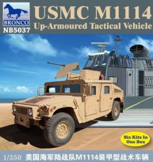 Bronco Models USMC M1114 Up Armored Tactical Vehicle (Contains 6 kits), Scale 1/350 Toys & Games