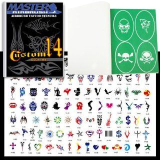 Master Airbrush� Brand Airbrush Tattoo Stencils Set Book #14 Reuseable Tattoo Template Set, Book Contains 100 Unique Stencil Designs, All Patterns Come on High Quality Vinyl Sheets with a Self Adhesive Backing.
