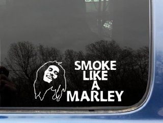 "Smoke like a Marley   8"" x 3 5/8""   funny Bob Marley die cut vinyl decal / sticker for window, truck, car, laptop, etc Automotive"