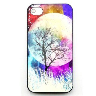 Unique effect glow fluorescent Hard Cover Case Moon forest tree for iphone 4 4G 4S case with free LCD Film Screen Protector Cell Phones & Accessories