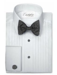 Cardi Men's Cotton Tuxedo Shirt   1/2 Inch Pleat Laydown Collar at  Men�s Clothing store