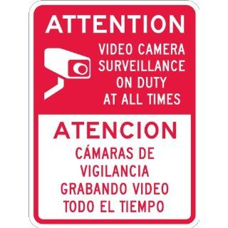 "SmartSign 3M High Intensity Grade Reflective Sign, Legend ""Attention   Video Camera Surveillance"", Bilingual Sign with Graphic, 24"" high x 18"" wide, Red on White Industrial Warning Signs"