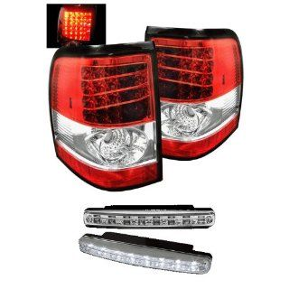 Carpart4u Ford Explorer 4Dr (Except Sport Trac) LED Transparent Red Tail Lights & LED Day Time Running Light Package Automotive