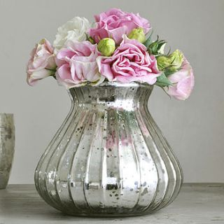 silver ribbed glass vase by primrose & plum