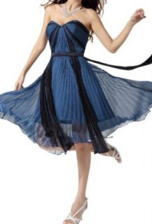 Crystal Dresses Women's Sweetheart Contoured Chiffon Dress Dark Blue Bridesmaid Dress