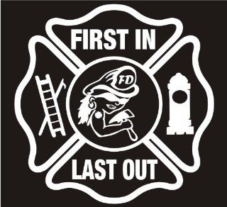 "Firefighter Decals, First Ones In Last Ones Out Womens Maltese Decal Sticker Laptop, Notebook, Window, Car, Bumper, EtcStickers 5""in. in WHITE Exterior Window Sticker with"
