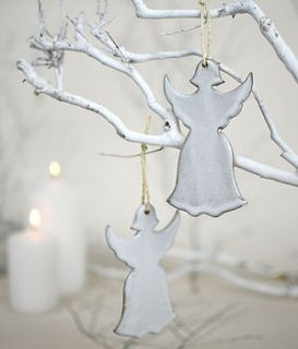 ceramic christmas angel tree decoration by nom living