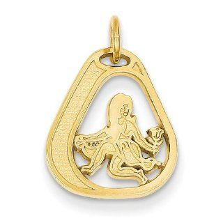 14k Yellow Gold Virgo Zodiac Charm Pendant. Metal Wt  1.25g Jewelry