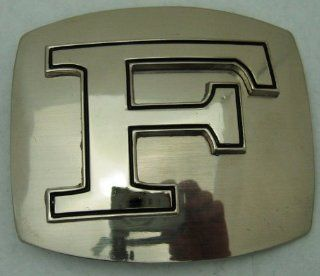 "Name Initial Letter Symbol Monogram Alphabet ""F"" Rodeo Classic Cowgirl Cowboy Western Texas Men Women Silver Finishing Style Belt Buckle.  Other Products"