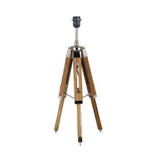 natural wood tripod table lamp base by quirk