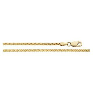 14K Yellow Gold Diamond Cut Wheat Chain by US Gems Chain Necklaces Jewelry