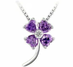 Adaliz Versaille Great Wonder Line, Monet's Lavender Dream Four leaf Clover, the Symbol of Faith Hope Love Luck, Maximum Dazzle Swarovski Austrian Vivid Crisp Diamond Shine Purple Crystal, 925 Argentinian Sterling Silver Majestic Necklace; Discover You