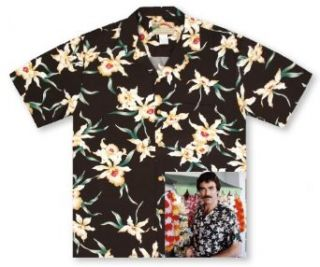 Paradise Found Star Orchid Black Tom Selleck Magnum PI #2 Hawaiian Shirt at  Men�s Clothing store