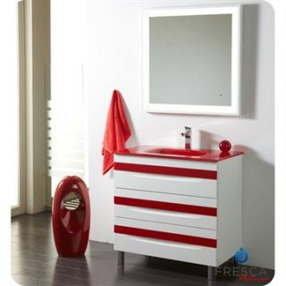 Fresca Platinum Giocco 32 Glossy White and Red Modern Bathroom Vanity