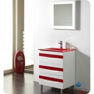 Fresca Platinum Giocco 24 Glossy White and Red Modern Bathroom Vanity