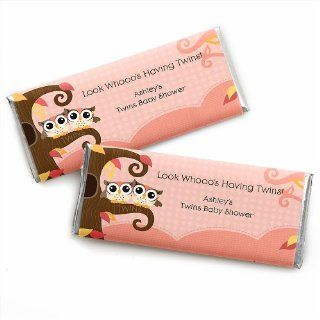 Owl Girl   Look Whooo's Having Twins   Personalized Baby Shower Candy Bar Wrapper Favors Toys & Games