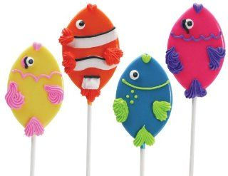 Fish Lollipals, Eight Cute Fish Shaped Pops Blue, Red, Pink, and Yellow. Four Great Flavors Blueberry, Orange, Bubblegum, and Lemon Great for Birthday Parties or Gift Giving Fun, Fully Edible, Made in the USA  Suckers And Lollipops  Grocery & Gourm