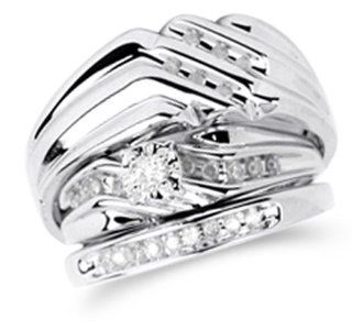 "14K White Gold Diamond Mens and Ladies Couple His & Hers Trio 3 Three Ring Bridal Matching Engagement Wedding Ring Band Set   Solitaire Setting w/ Channel Set Round Diamonds   (1/3 cttw)   SEE ""PRODUCT DESCRIPTION"" TO CHOOSE BOTH SIZES Jewel"