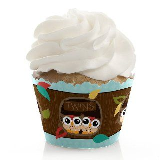 Owl   Look Whooo's Having Twins   Baby Shower Cupcake Wrappers Toys & Games