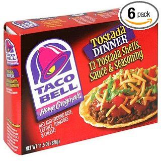 Taco Bell Home Originals Tostada Dinner Kit, 11.5 Ounce Boxes (Pack of 6)  Taco Shells  Grocery & Gourmet Food
