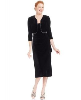 Alex Evenings Dress and Jacket, Sleeveless Velvet Jewel Faux Wrap   Dresses   Women