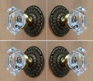 "Two Complete sets of Old Town 24% Lead Crystal Six Point Princess French Door Knob Sets with Oil Rubbed Brass Over Solid Brass 3"" Estate type Rosettes Highlighted with a natural brass knob stem   Doorknobs"