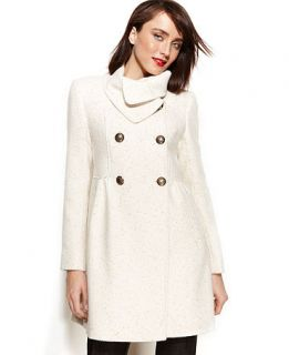 Kenneth Cole Reaction Double Breasted Wool Blend Metallic Babydoll Coat   Coats   Women