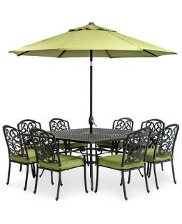 Kenbridge 9 Piece Outdoor Set 8 Dining Chairs and 64 Square Table   Furniture