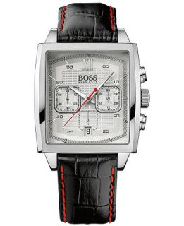Hugo Boss Mens Chronograph Black Leather Strap Watch 40mm 1512734   Watches   Jewelry & Watches