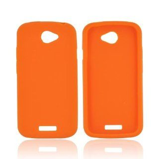 Orange HTC One S Silicone Case Cover [Anti Slip] Supports Premium High Definition Anti Scratch Screen Protector; Best Design with High Quality; Coolest Soft Flexible Silicon Rubber Case Cover for One S Supports HTC S Devices From Verizon, AT&T, Sprint,