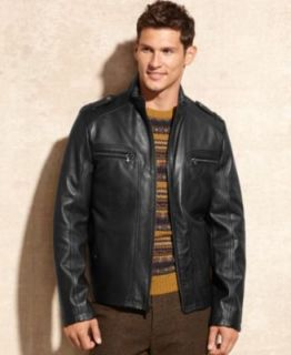 GUESS Jacket, Leather Moto Jacket   Coats & Jackets   Men