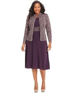 Jessica Howard Plus Size Dress and Jacket, Sleeveless Belted A Line   Dresses   Plus Sizes