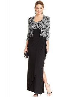 Alex Evenings Dress and Jacket, Sleeveless Sequined Ruffled Evening Gown   Dresses   Women
