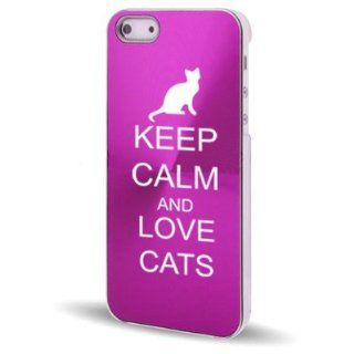 Apple iPhone 5 5S Hot Pink 5C231 Aluminum Plated Hard Back Case Cover Keep Calm and Love Cats Cell Phones & Accessories