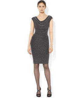 Lauren Ralph Lauren Petite Cap Sleeve Metallic Drape Neck Dress   Dresses   Women