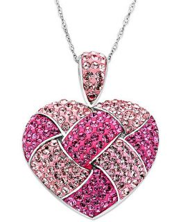 Kaleidoscope Sterling Silver Necklace, Pink Crystal Heart Necklace with Swarovski Elements   Necklaces   Jewelry & Watches