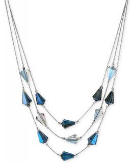 Kenneth Cole New York Silver Tone Faceted Blue Bead Illusion Necklace   Fashion Jewelry   Jewelry & Watches