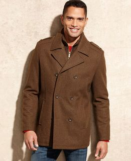 Kenneth Cole Reaction Coat, Knit Bib Wool Blend Peacoat   Coats & Jackets   Men