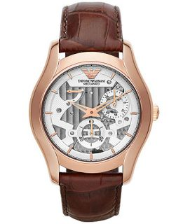 Emporio Armani Mens Automatic Meccanico Brown Leather Strap Watch 43mm AR4675   Watches   Jewelry & Watches