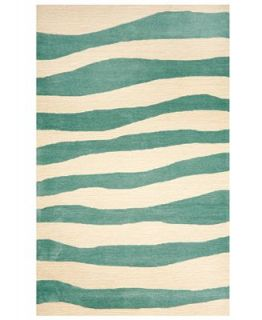 Liora Manne Area Rug, Indoor/Outdoor Promenade 2116/04 Wavey Stripe Aqua 36 x 56   Rugs