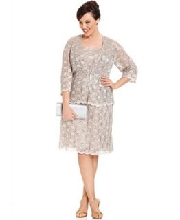 R&M Richards Plus Size Sleeveless Sequined Lace Dress and Jacket   Dresses   Women